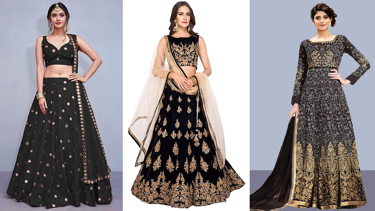 Taffeta Silk Lehengas & Gowns in Black Colour