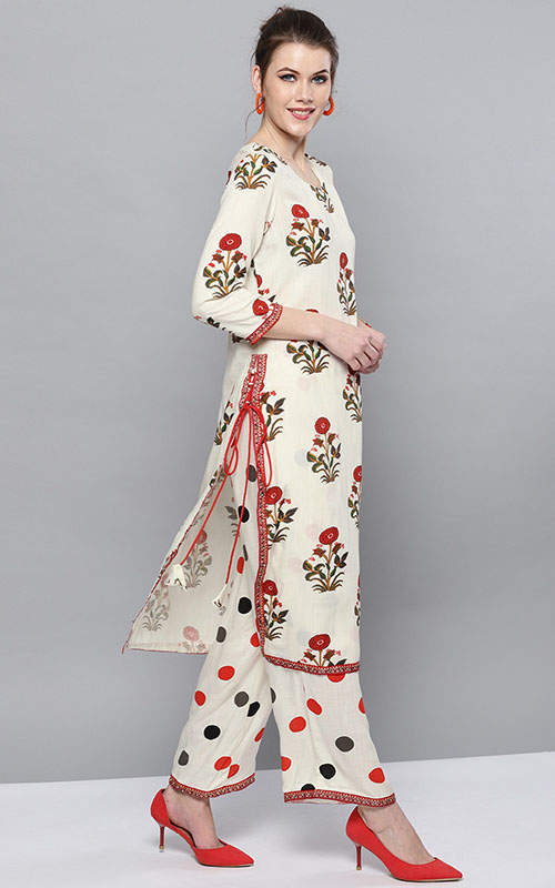 Cream Colored And Red Printed Kurta With Palazzo