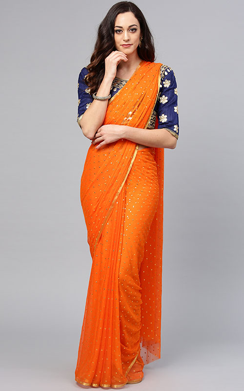 Orange Saree With Navy Blue Blouse