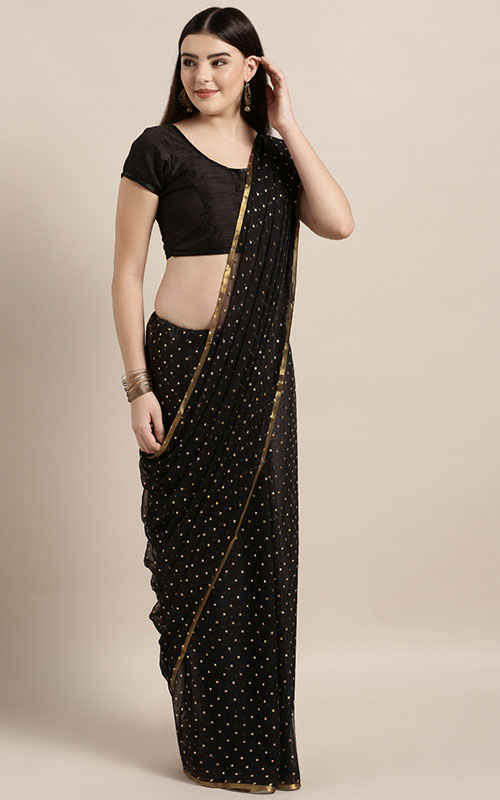 Black And Navy Blue Chiffon Saree