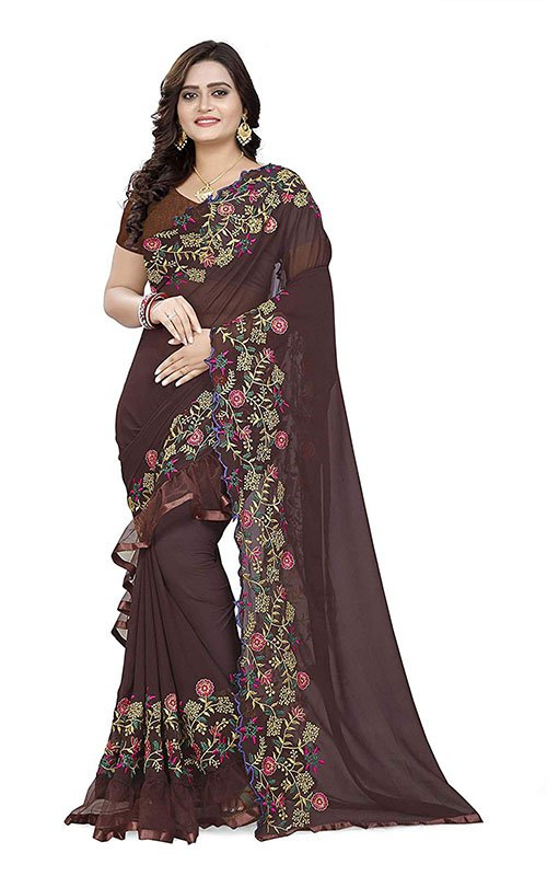 Brown Ruffle Saree