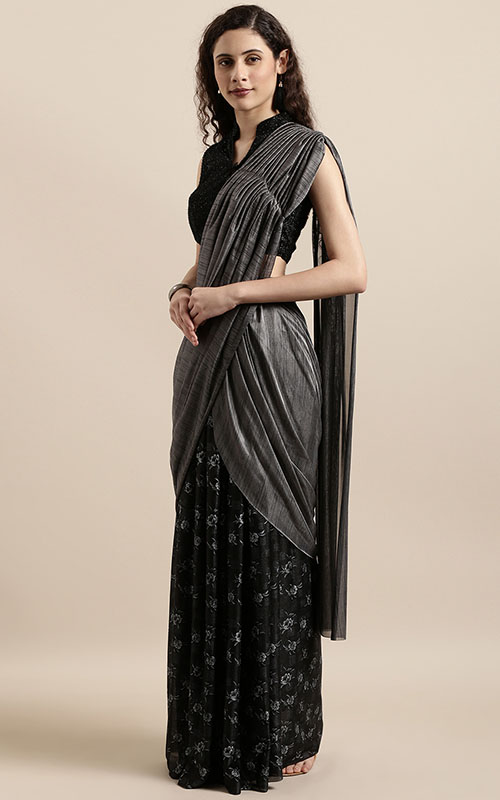 Grey And Black Saree