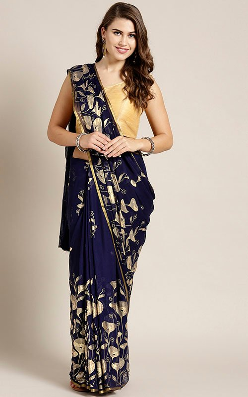 Golden Foil Print Saree