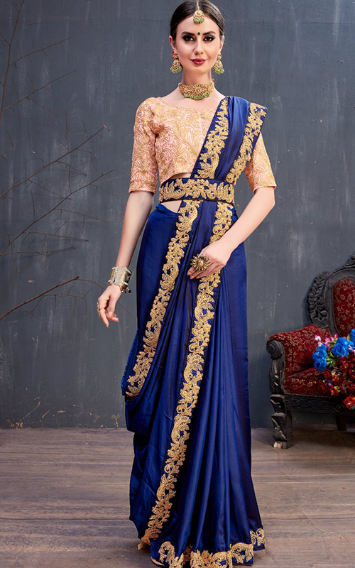 Party Wear Blue Saree
