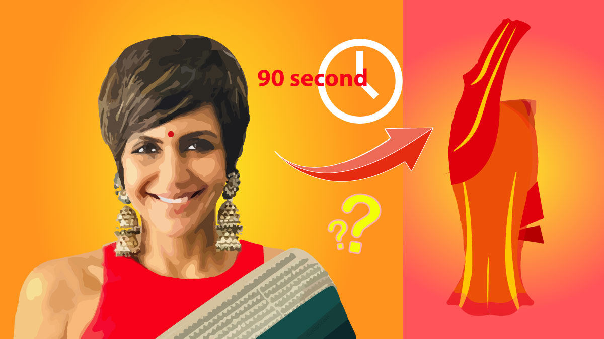 learn from Mandira Bedi how to wear a saree in 90 seconds