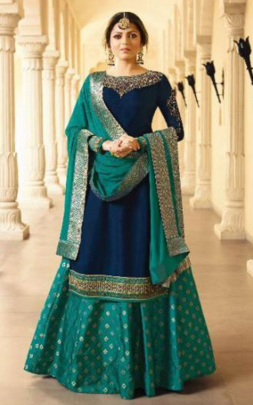 Green And Blue Partywear Lehenga