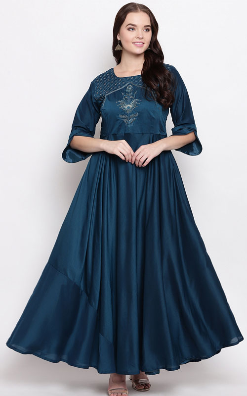 Prussian Blue Handwork Anarkali Kurti