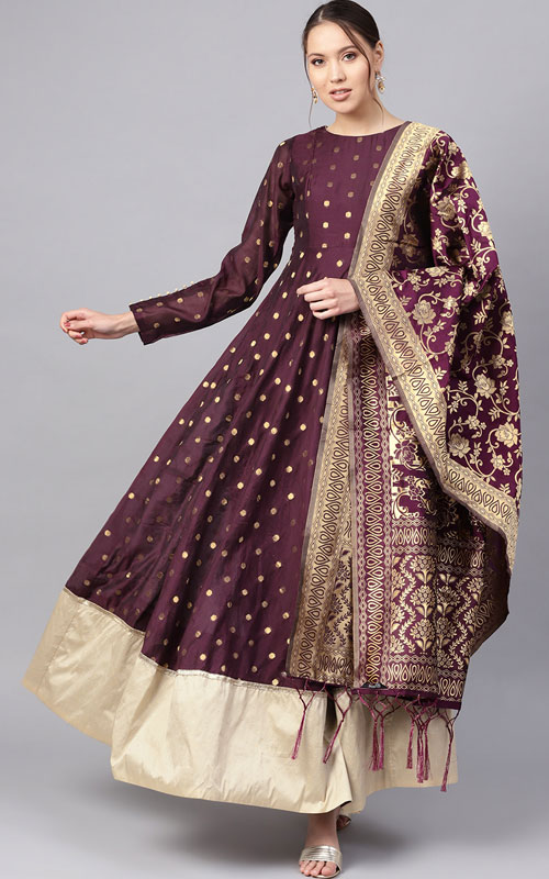 Aubergine And Golden Kurta With Dupatta