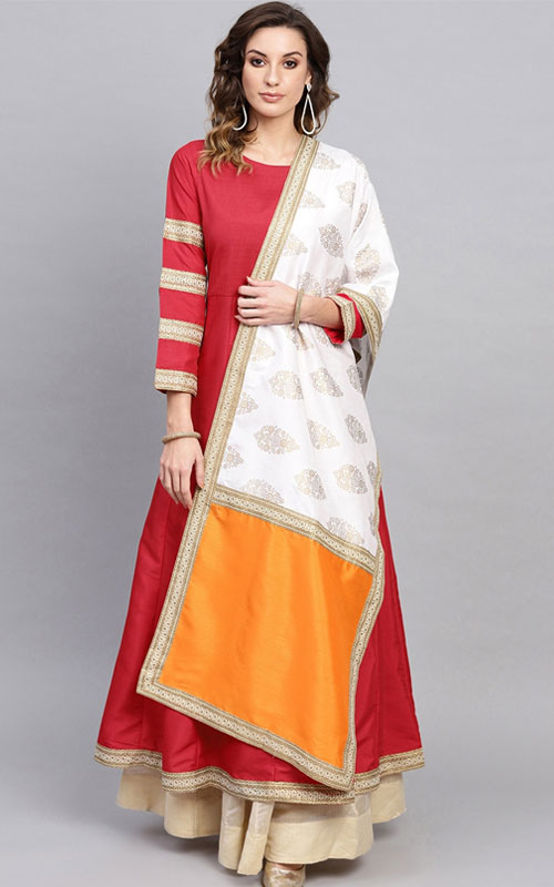 Red Art Silk Kurti With Dupatta