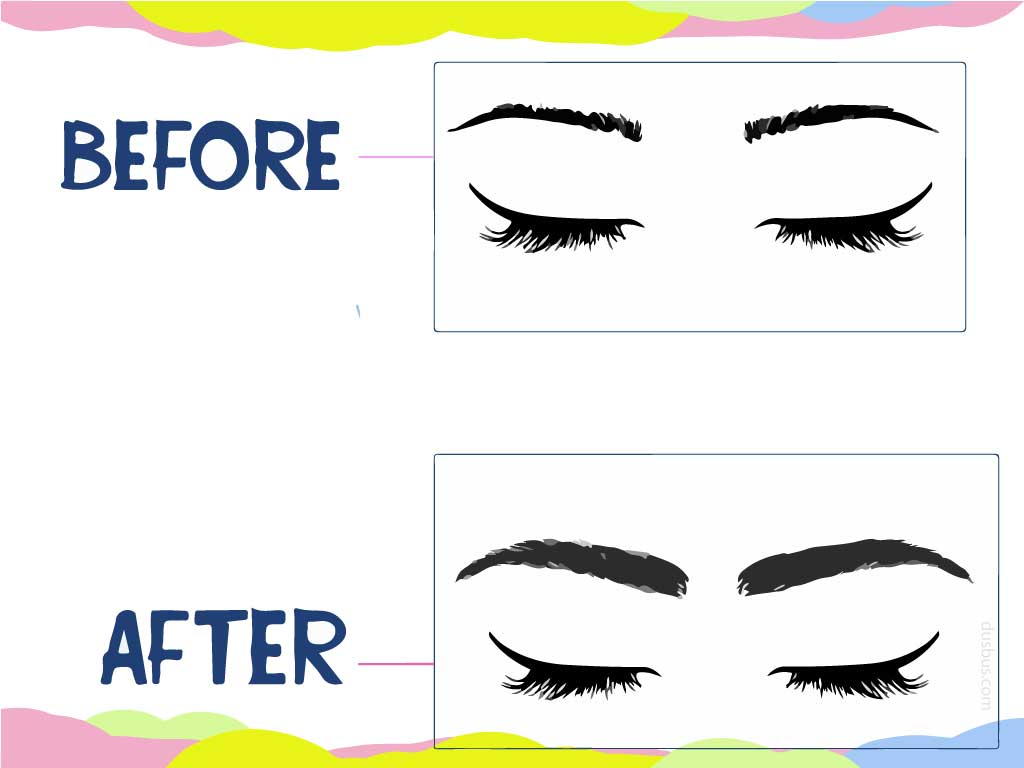 Thin to thicker eyebrows before after