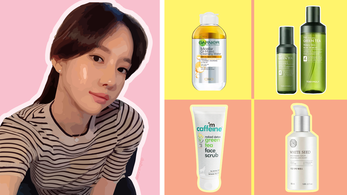 Korean Girl And Four Facial Products