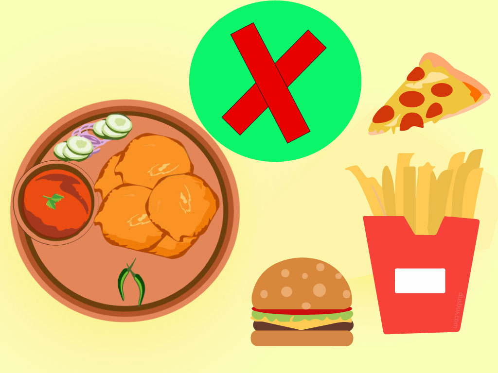 Reject Pakoda, Pizza, French Fries And Burger