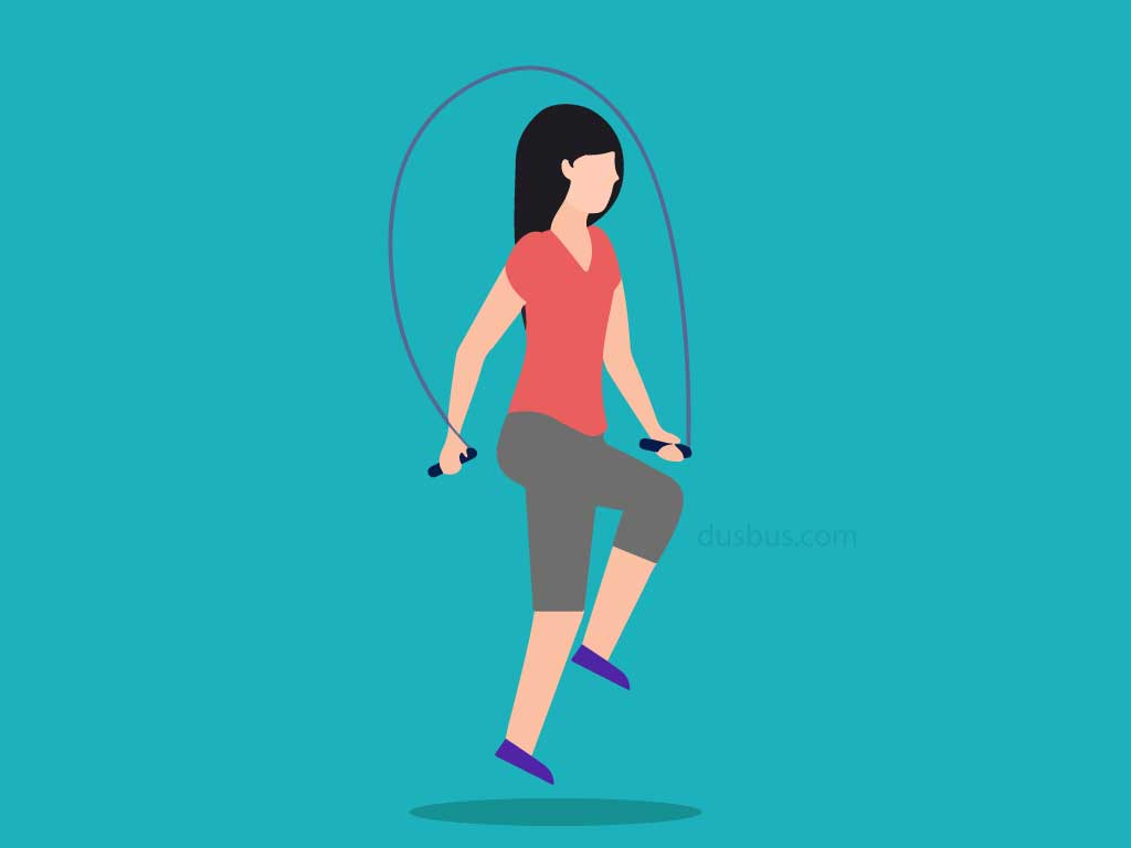 A girl rope skipping