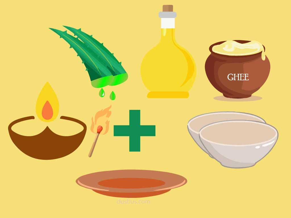 Ingredients for homemade kajal