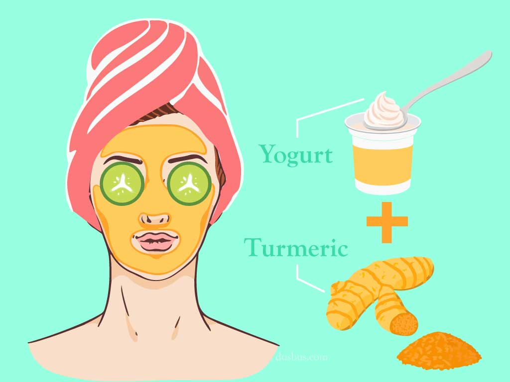 mix of yogurt and turmeric face pack