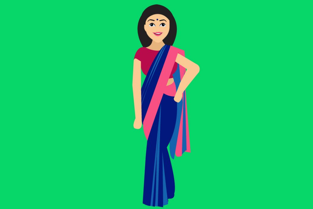 saree with perfect pleats