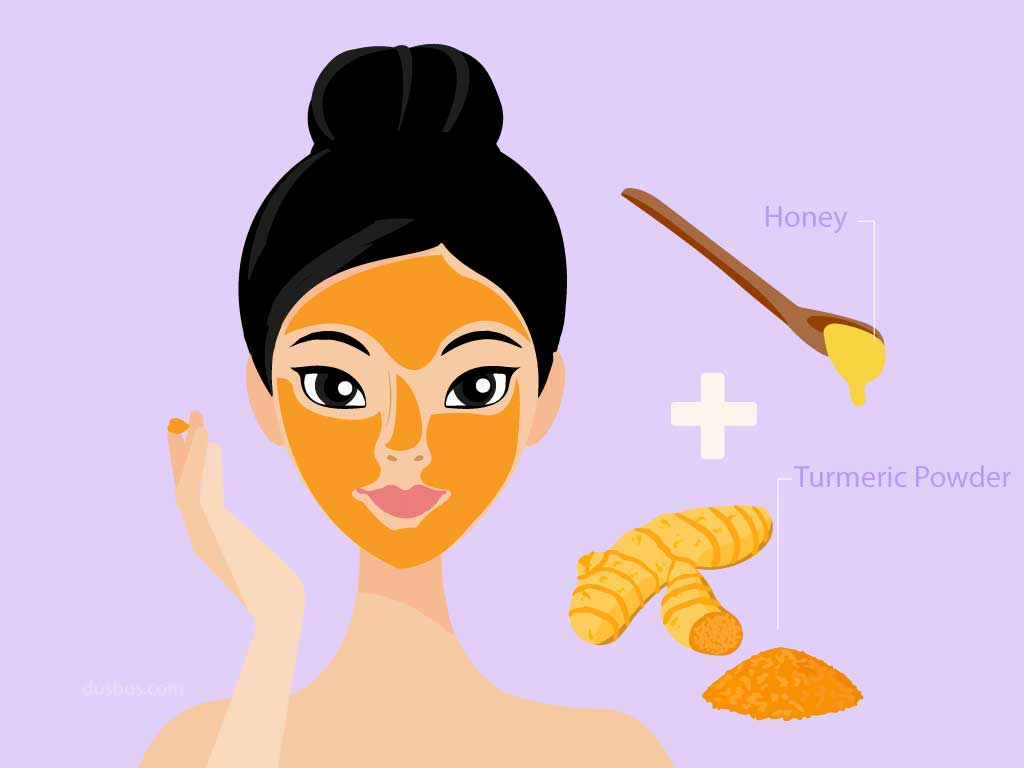Girl applying a mix of raw honey and turmeric powder on her face