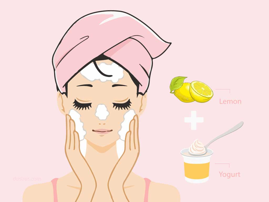 Girl applying daily face cleanser with 1 tbsp of curd and 1 tsp lemon juice