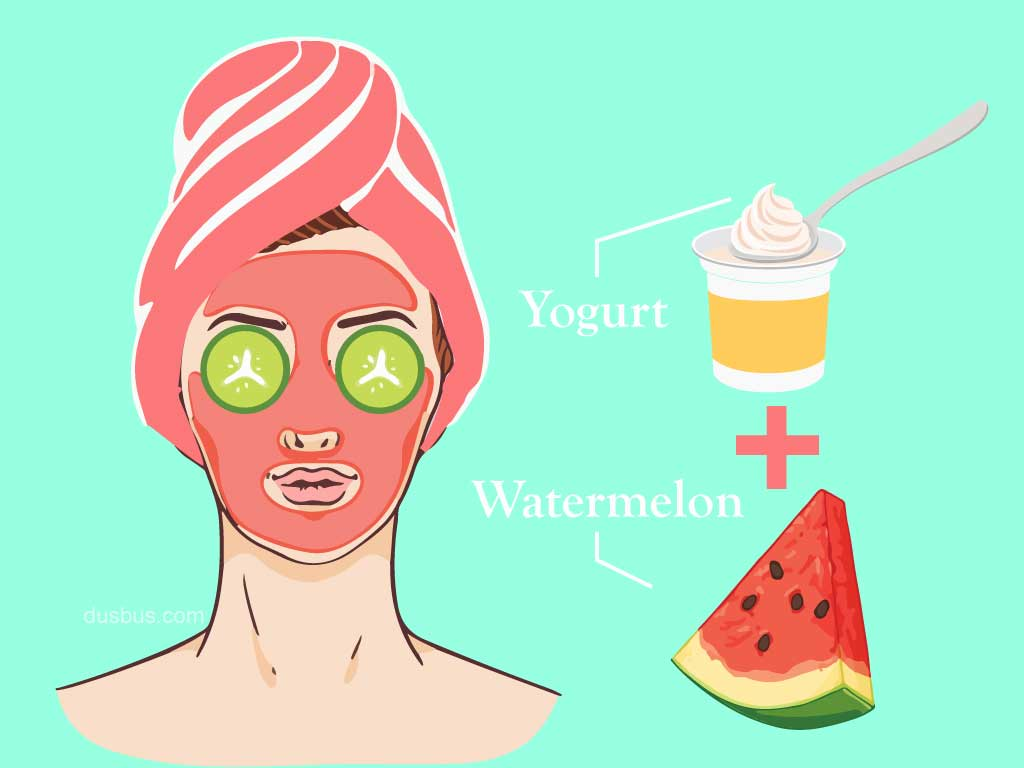 Girl applying a mix of watermelon and yogurt face pack