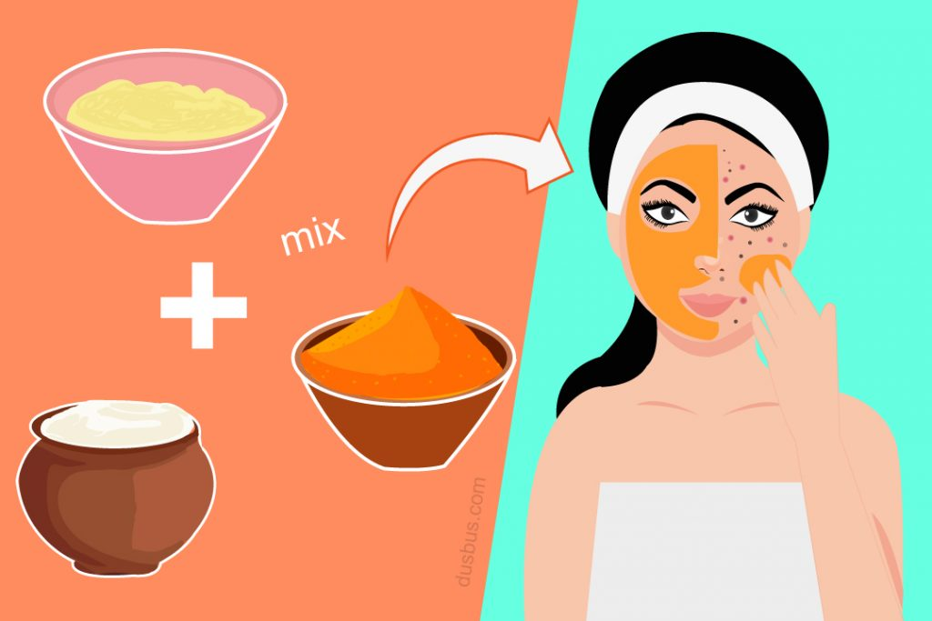 girl applying paste of turmeric, curd and besan on her face to reduce dark spots