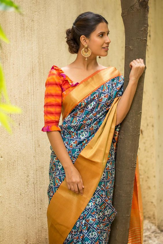 Bengali style blouse design with frills