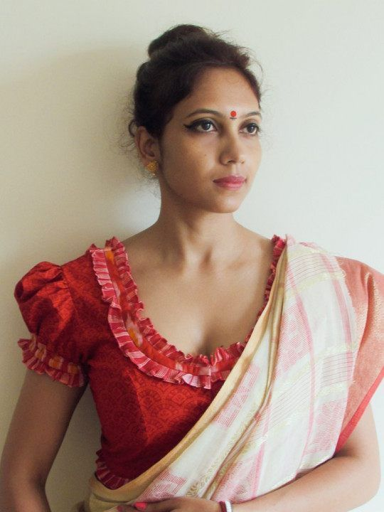 Bengali Style Blouse with Pleated Neck