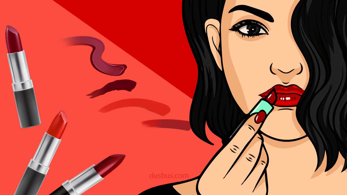 Girl applying lipstick
