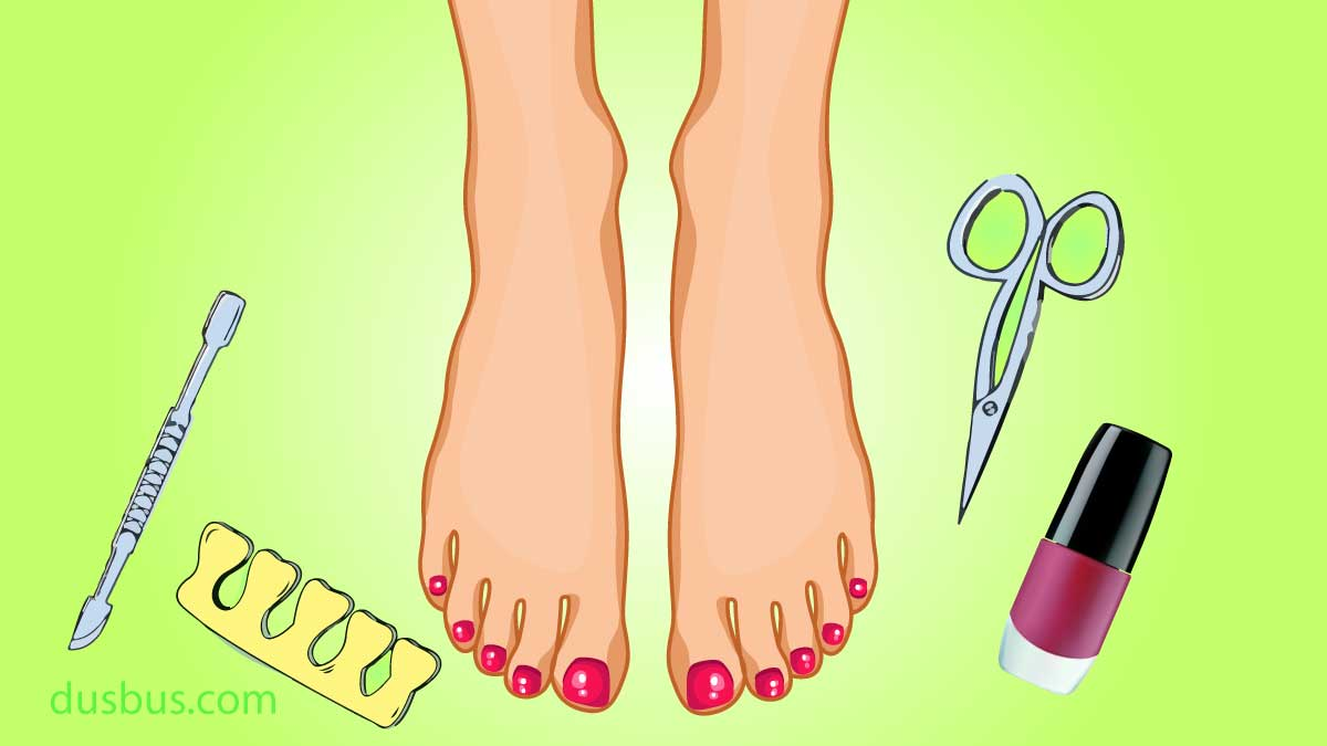 Pretty feet and pedicure tools