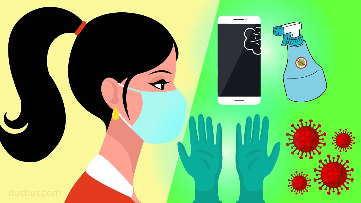 Women Wearing Mask, Phone Cleaning, Gloves