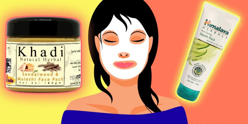 Girl applied face pack and 2 face packs for glowing skin