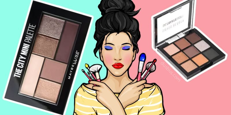 Girl holding makeup tools and 2 eyeshadow palettes displayed