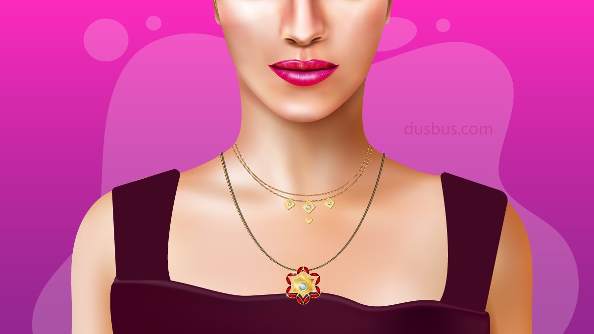 Girl wearing a beautiful mangalsutra with pendant