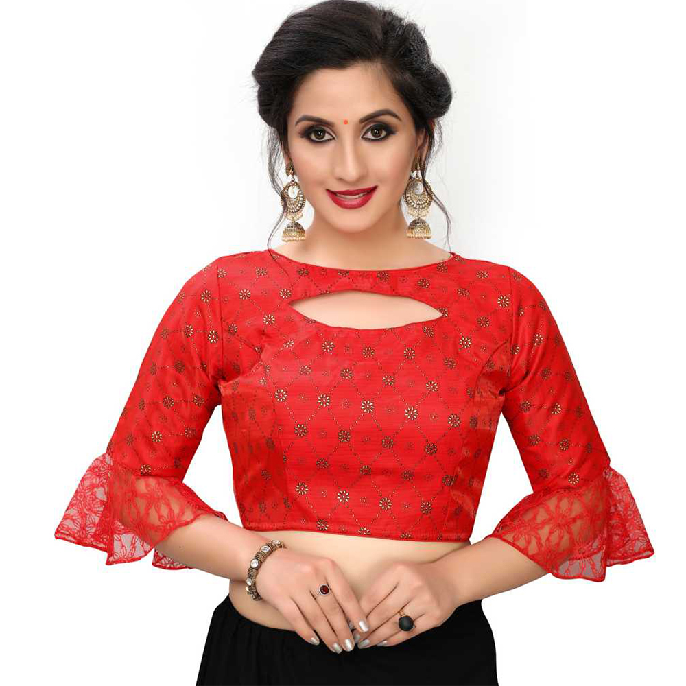 Red Keyhole Blouse