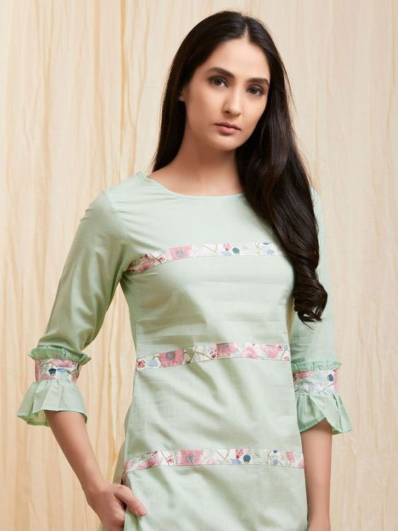 Kurti Sleeves with Double Style Frills