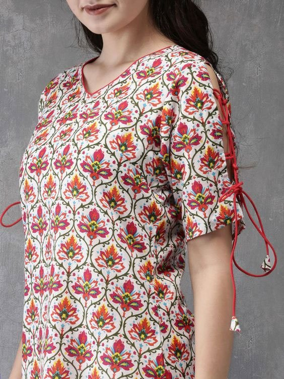 Kurti with Side Slits and Rope Designs