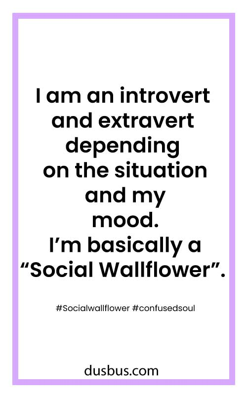 "I am an introvert and extrovert depending on the situation and my mood. I'm basically a ""Social Wallflower""."