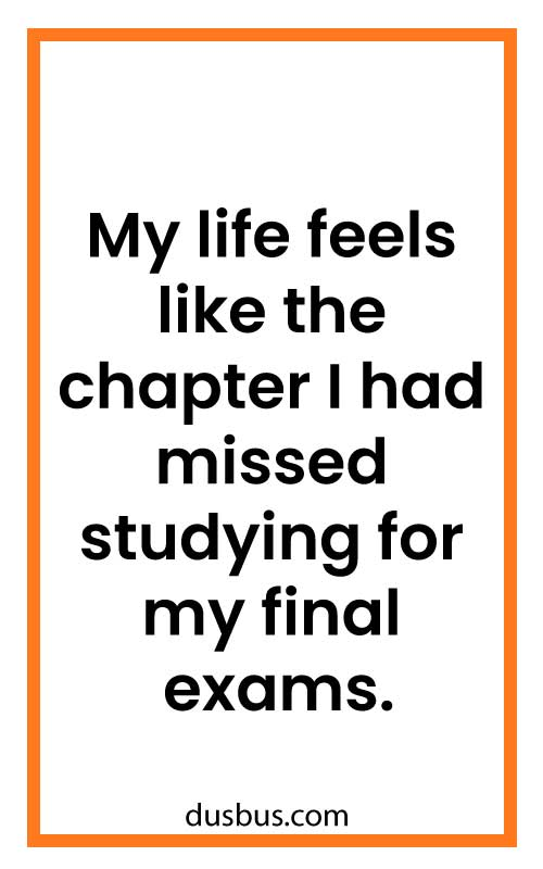 My life feels like the chapter I had missed studying for my final exams.