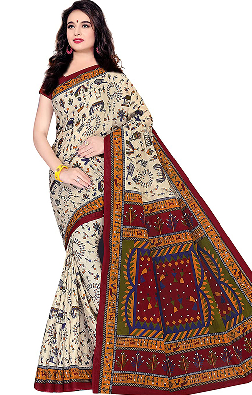 Beige Pure Cotton Saree