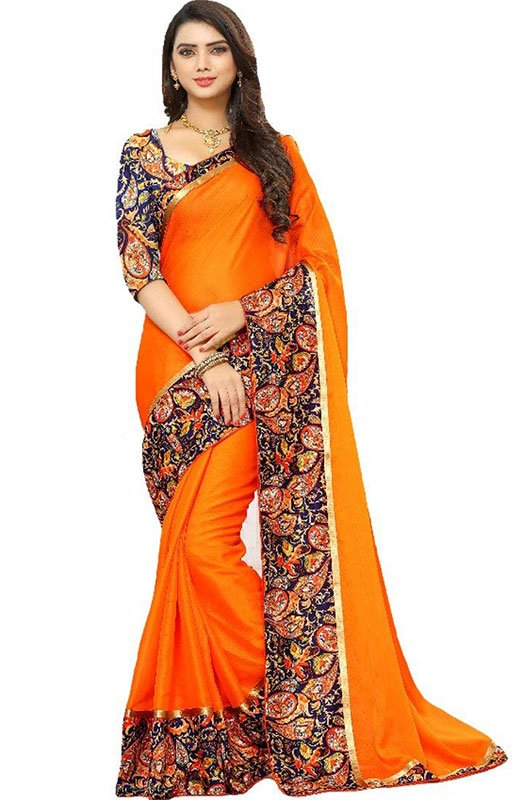Bhagalpuri Orange Saree