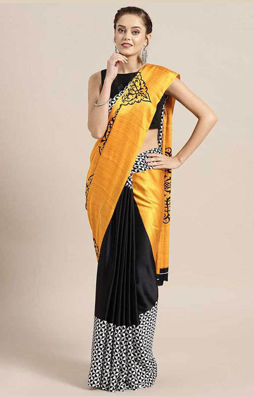 Black And Yellow Crepe Saree