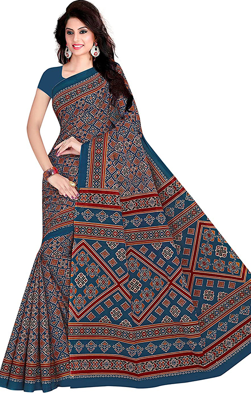 Blue Ikkat Print Cotton Saree