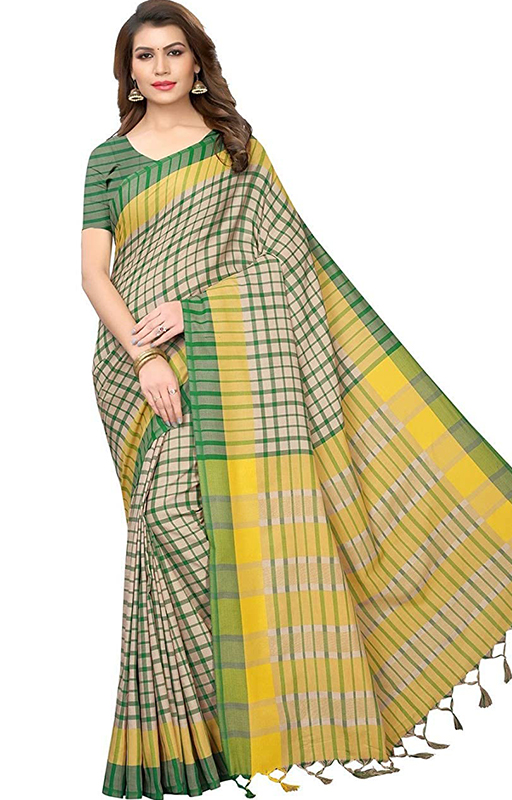 Checks Print Chanderi Cotton Saree