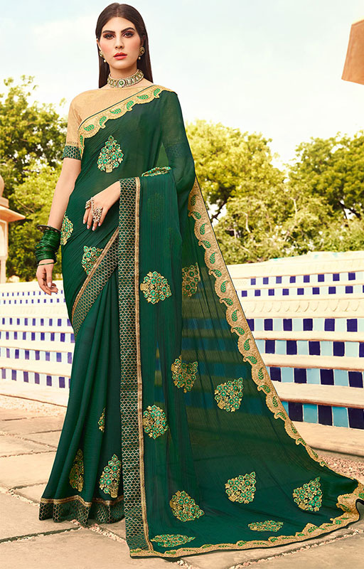 Dark Green Embroidered Saree