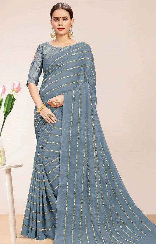 Embroidered Grey Saree