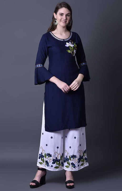 Embroidered Kurta And Palazzo Set