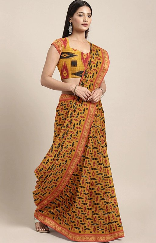 Mustard And Orange Saree