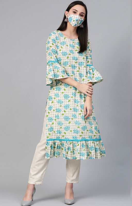 Off-White And Blue Kurti With Floral Printed Mask