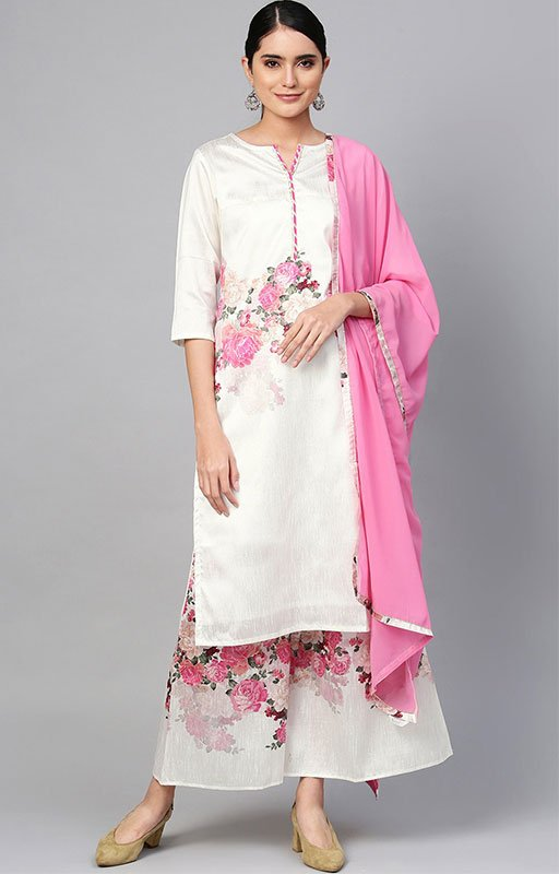 Off White Printed Kurta With Palazzo Dupatta Set
