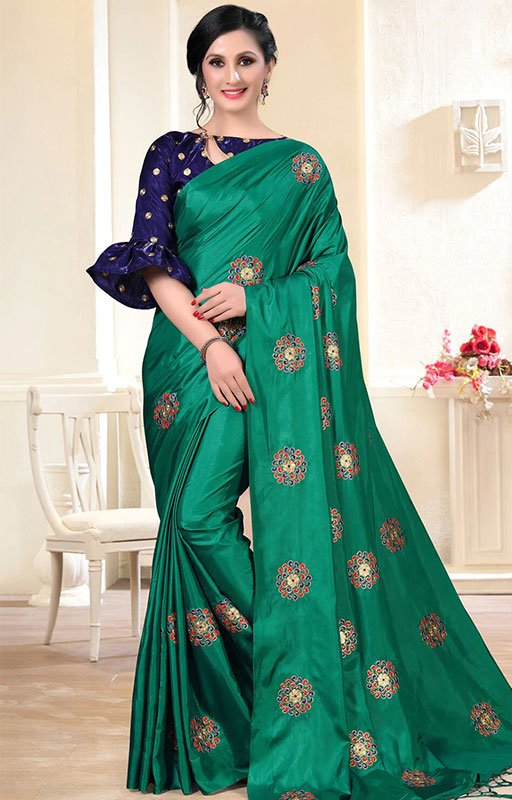 Peacock Green Floral Embroidered Saree