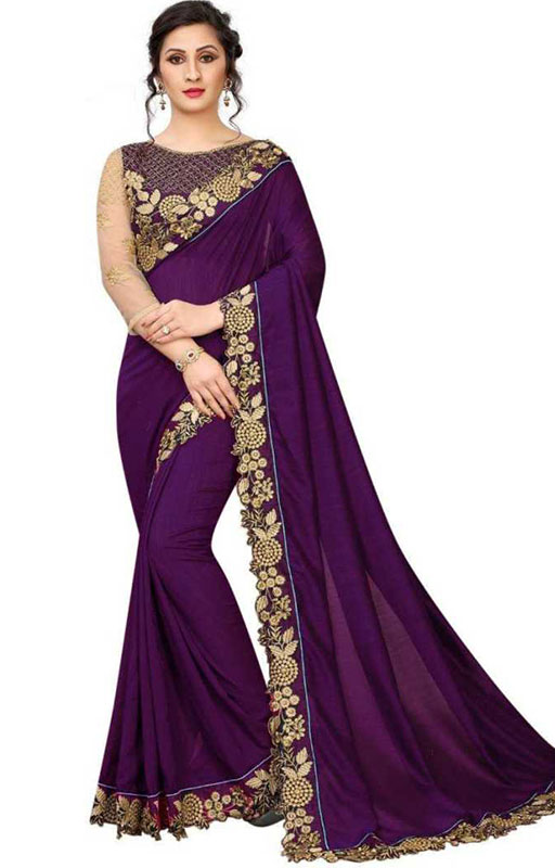 Purple Embroidered Cut Border Work Saree